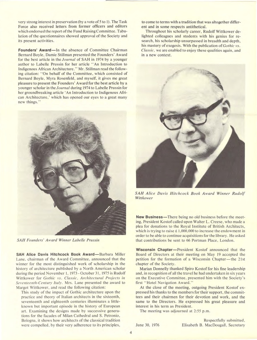 Labelle Prussin depicted alongside Rudolf Wittkower in the Newsletter of the Society of Architectural Historians