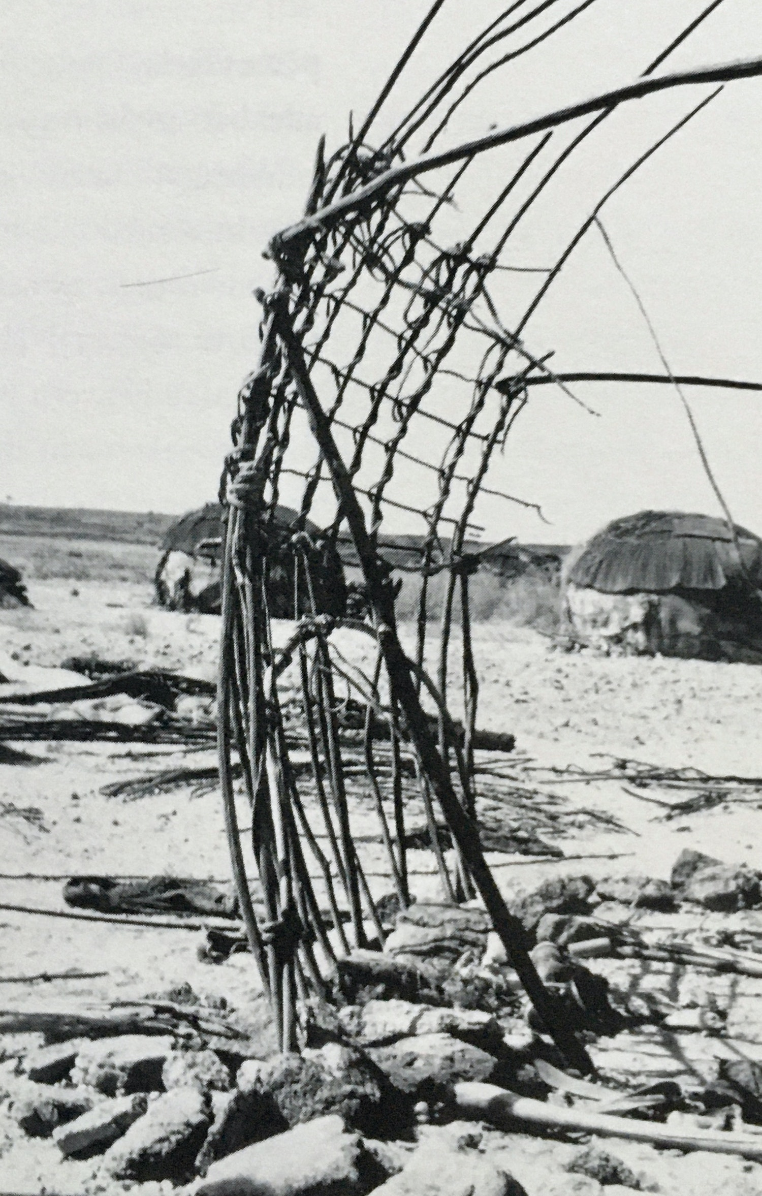The rear reinforcing armature of a Gabra tent in northern Kenya