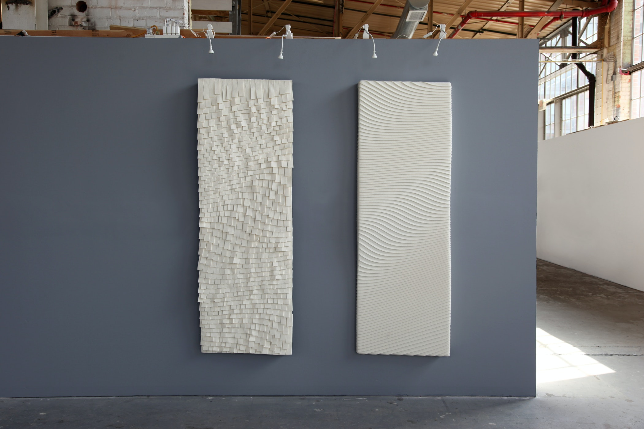 acoustic panels with shingle and shiplap techniques